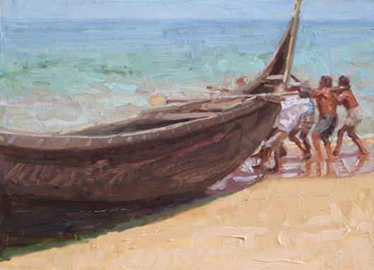 Kovalam Fisherman Docking Boat Study, oil, 12 x 9.