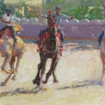Camel Racers Making the Turn, oil, 12 x 20.