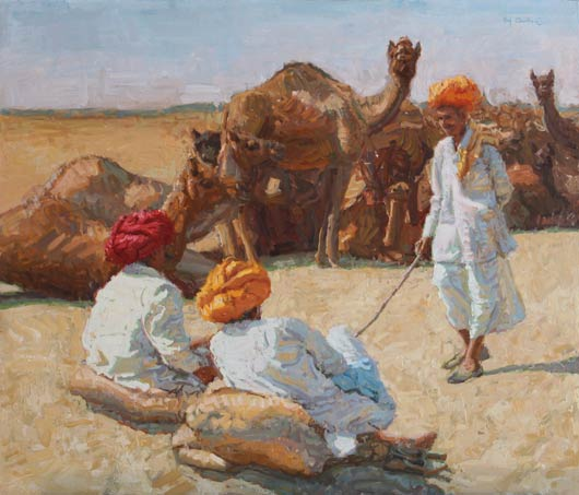 Camel Trader Series: Old Friends, Oil, 24x28.