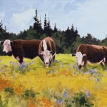 High Morning Cattle, acrylic, 12 x 24.