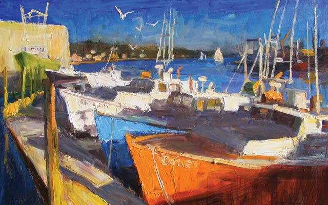 Harbor Hues, oil, 30 x 40.