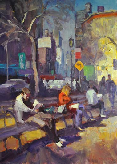 Well Read, oil, 40 x 30.