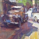 Alley Trucks, oil, 20 x 24.