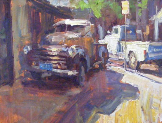 Alley Trucks, oil, 20 x 24.