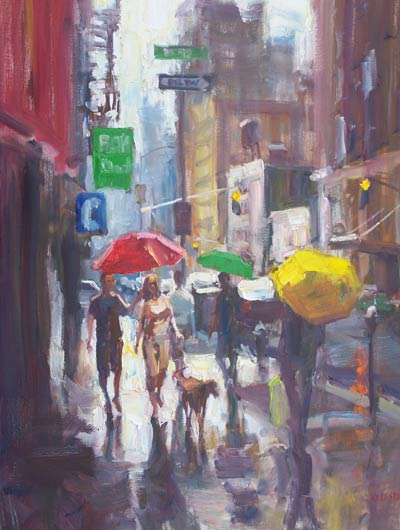 Downtown Dog, oil, 40 x 30.