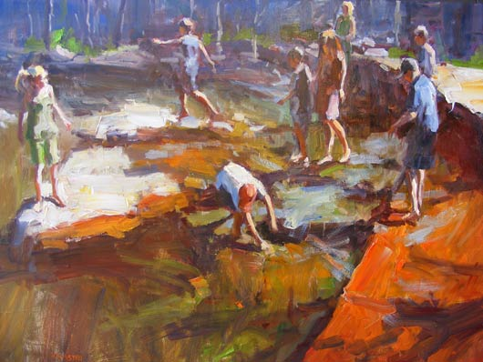 Into the Creek, oil, 36 x 48.