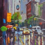 Umbrella Glow, oil, 40 x 30.