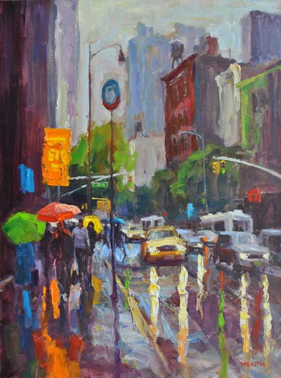Umbrella Glow, oil, 40 x 30.