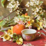 Teacup with Blossoms, oil, 16 x 12.