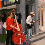 Street Musicians, oil, 16 x 12.