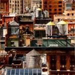 Rooftops New York, watercolor, 25 x 18.
