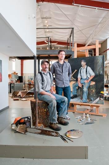 The artist paints live models inside his studio