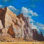 Rain God Mesa - South Facade, oil, 38 x 59.