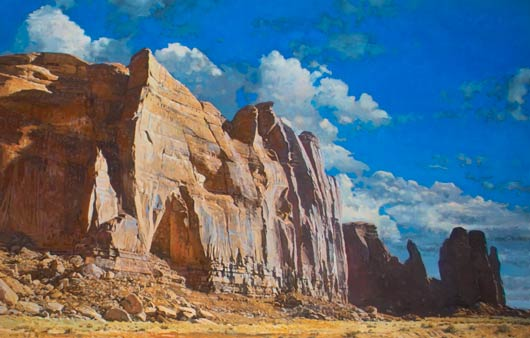 Rain God Mesa - South Facade, oil, 38 x 59.