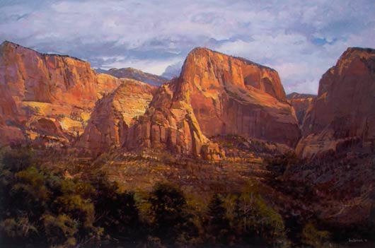 Timber Top and Nagunt Mesa, oil, 27 x 41.