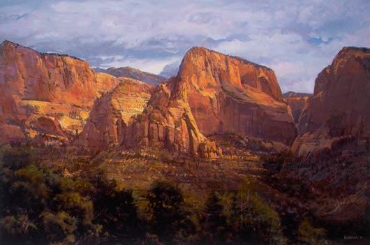 Timber Top and Nagunt Mesa, oil, 27 x 41.