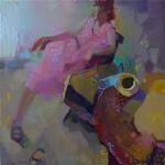 Pink Dress, oil, 36 x 36.