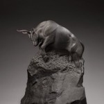 Auroch Echoes, black granite, 33 x 28 x 22.