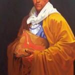 Indian with Parfleche Bag, oil, 40 x 28.