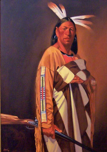 Chief's Blanket/Sioux, oil, 28 x 40.