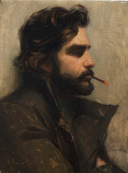 Christopher Smoking, oil, 10 x 8.