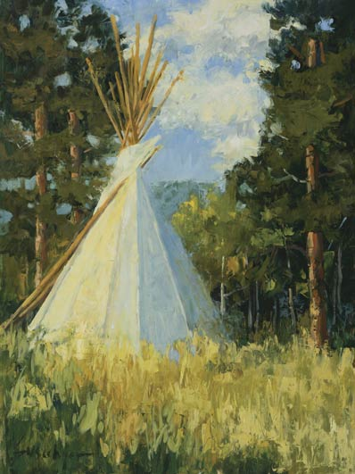 Autumn Tipi, oil, 24 x 18.