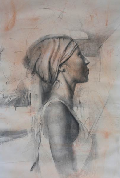 Female Profile, charcoal on paper.