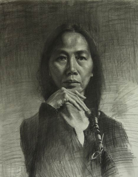 Grace, charcoal on paper, 18 x 24.