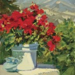 Mountain View Geraniums, oil, 12 x 16.