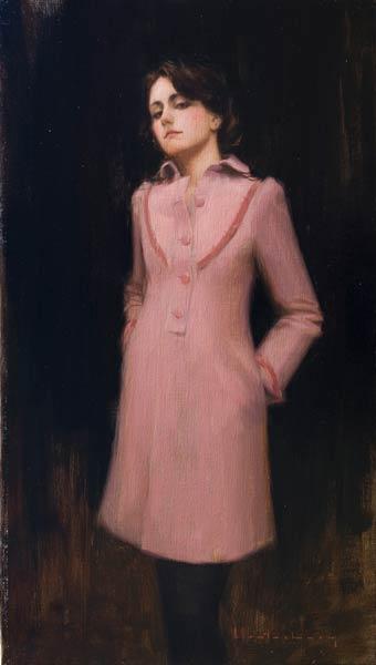 Pink Coat, oil, 28 x 15.