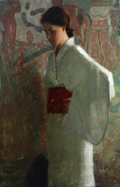 White Kimono, oil, 24 x 16.
