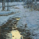 Winter Drive Dusk, oil, 24 x 18.