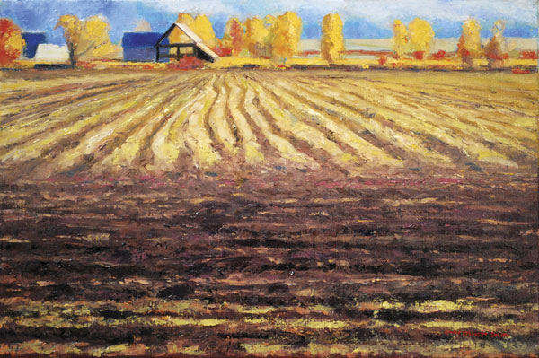 Autumn Field, oil, 16 x 24.