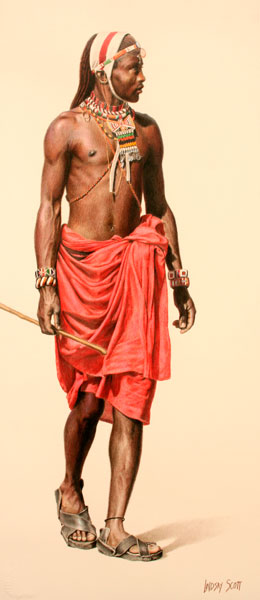 Samburu Warrior, colored pencil, 30 x 13.