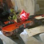 Rose Concerto 2, oil, 9 x 12.