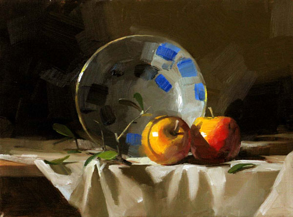 Two Apples, oil, 9 x 12.