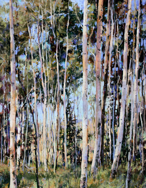 Through the Aspens, pastel, 28 x 22.