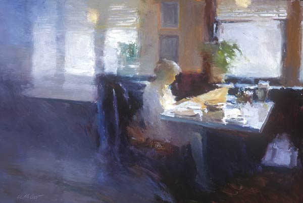 Cafe AM, oil, 24 x 36.