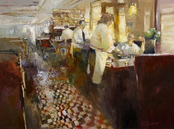 Waiters, oil, 40 x 60.