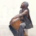 Bongo Drummer, watercolor, 15 x 10.