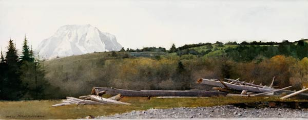Teton, watercolor, 12 x 30.