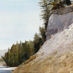 Yellowstone Cliff, watercolor, 22 x 30.