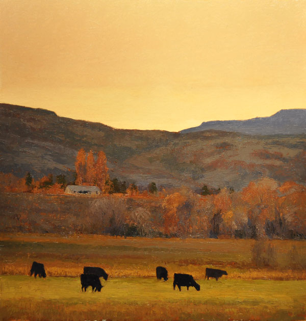 Angus at Sunset, oil.