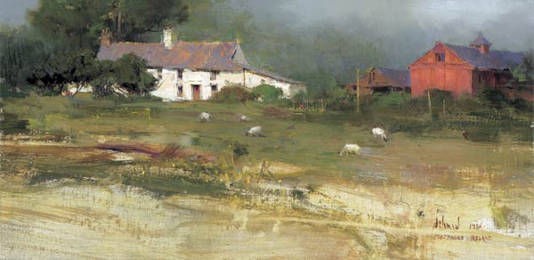 Portmagee Farm, oil, 8 x 16.