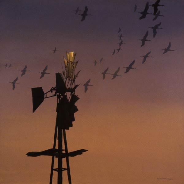 Windtalkers - Sandhill Cranes, acrylic, 36 x 36.