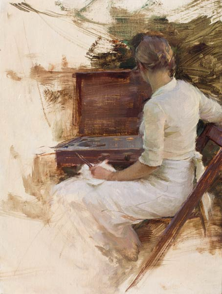 Katie Painting, oil, 14 x 11.