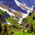 Approaching Schofield Pass, oil, 8 x 12.
