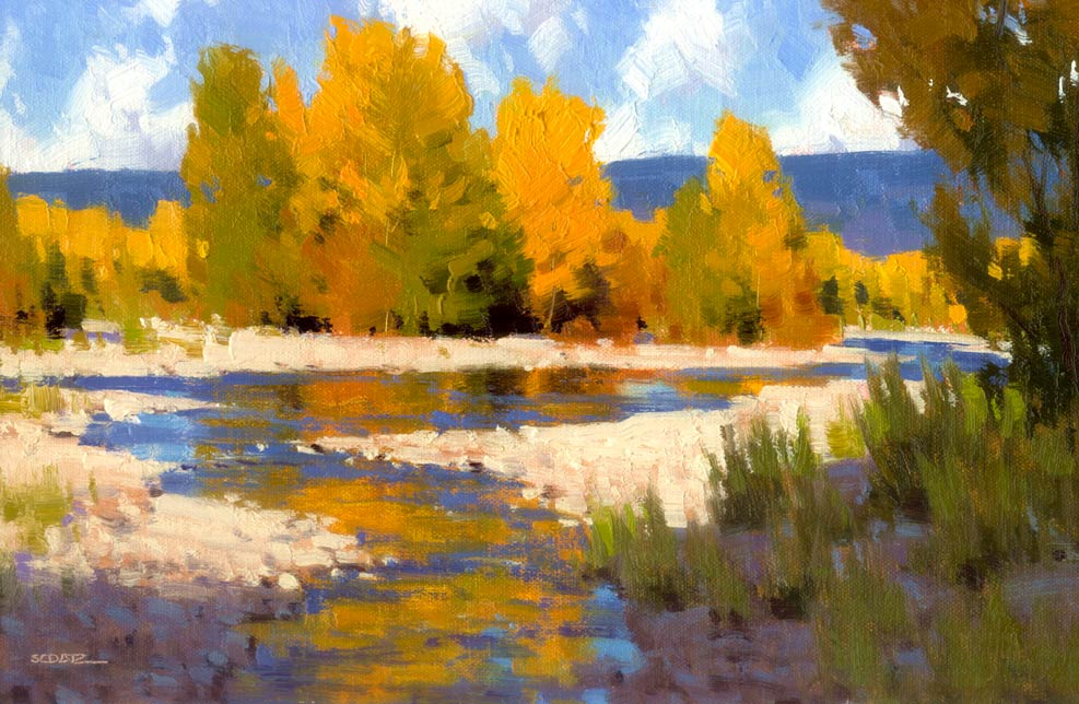 Autumn Sunshine, oil, 8 x 12.