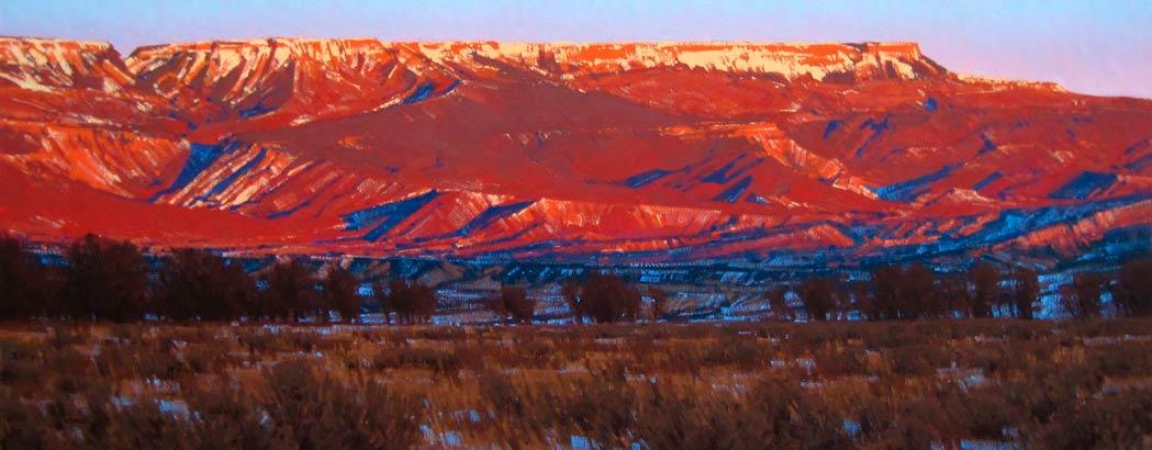 Evening Fire, Grand Mesa, oil, 16 x 40.