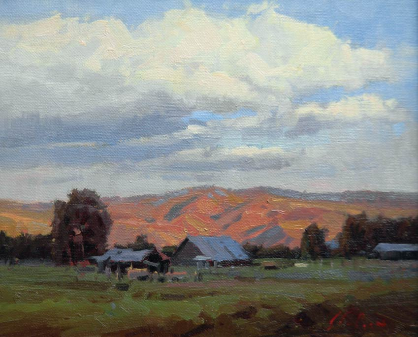 Valley Farm, oil, 8 x 10.